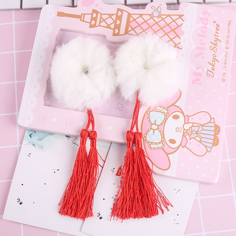 """STUFFED BALL TASSEL"" HAIR TIE N092408"