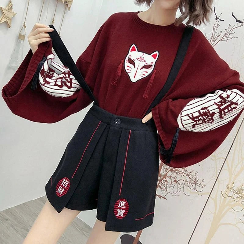 """FOX MASK EMBROIDERED"" SWEATER N082810"