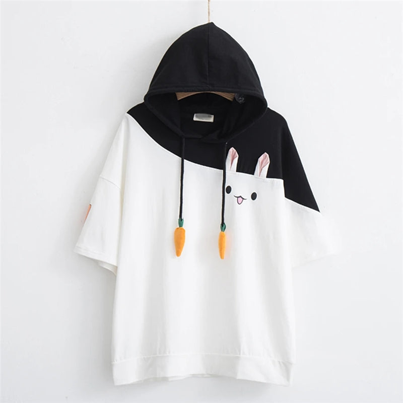 """RABBIT CARROT DRAWSTRING HOODED"" T-SHIRT N081110"