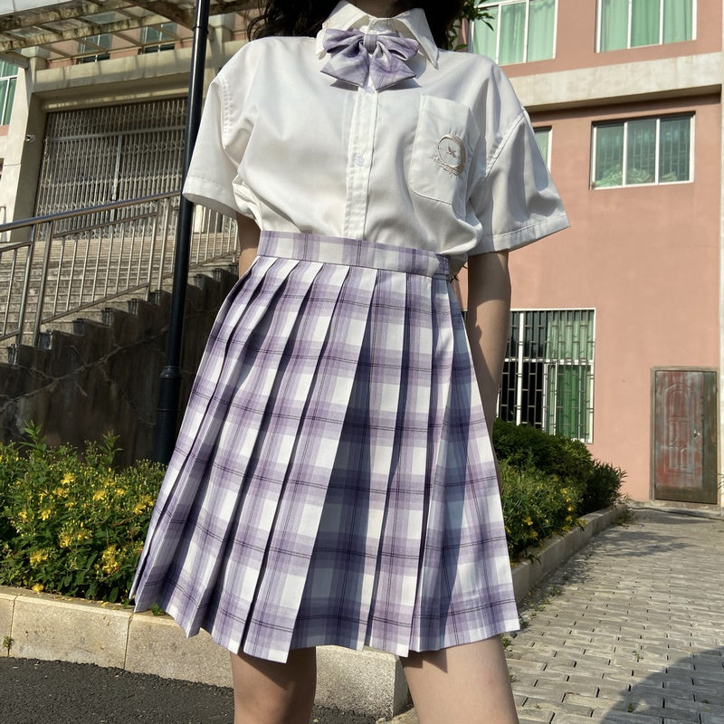 """JK PURPLE WHITE PLAID"" SKIRT / TIE N073003"