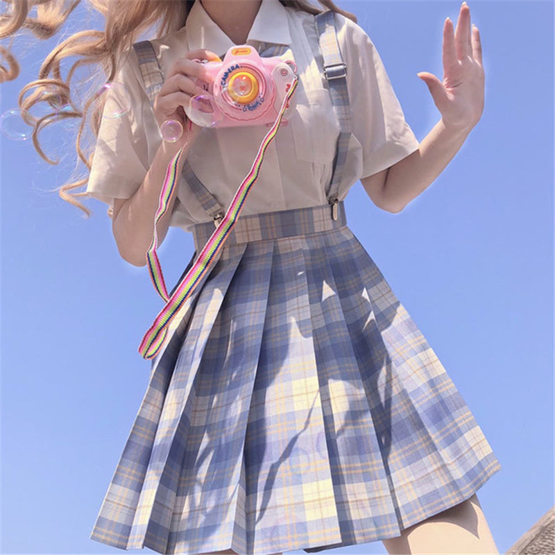 """JK LIGHT BLUE PLAID PLEATED"" SKIRT / TIE N073007"