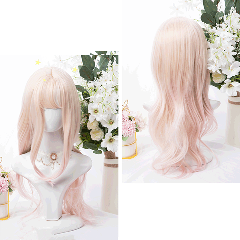 """GOLDEN PINK GRADIENT SLIGHTLY CURLY LONG"" WIG D051609"
