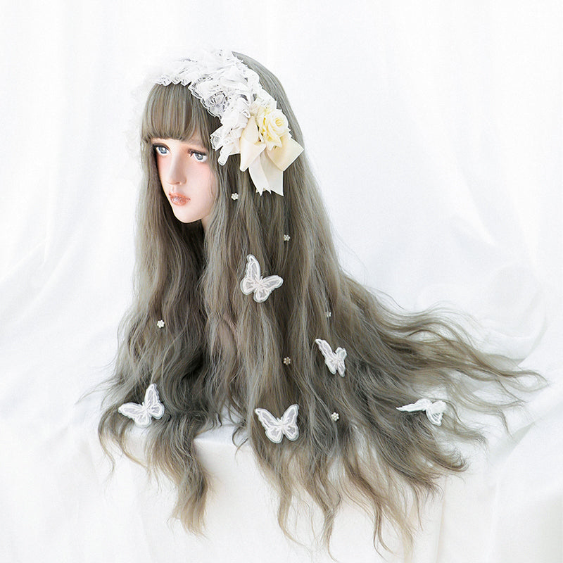 """AOKI GRAY LONG CURLY"" WIG D052208"