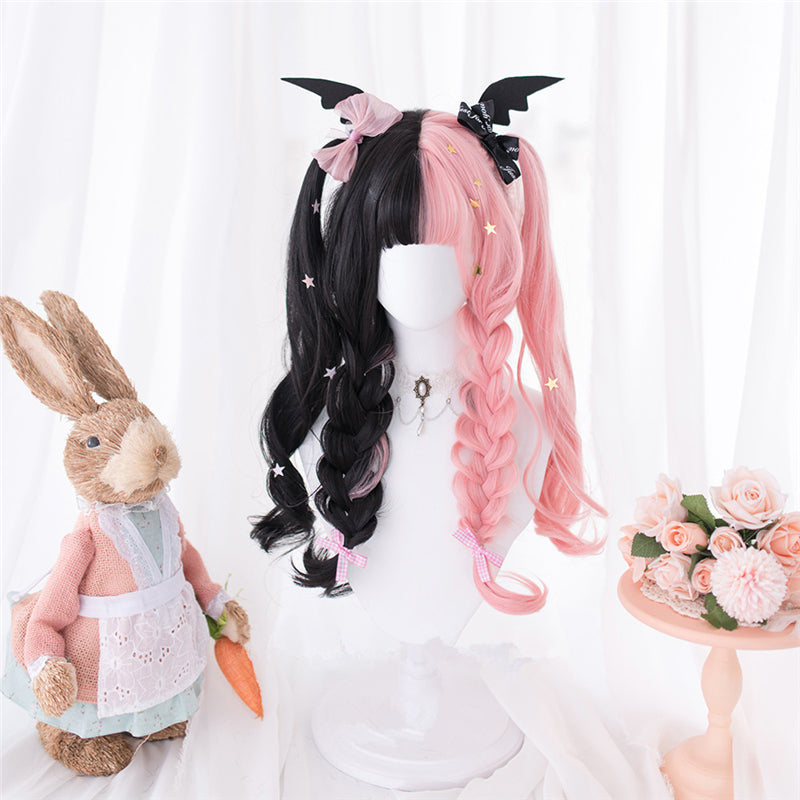 """HALF BLACK HALF PINK LOLITA LONG CURLY"" WIG D052009"