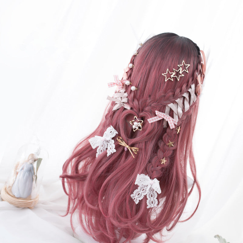 """ROSE RED GRADIENT LONG STRAIGHT"" WIG D052004"