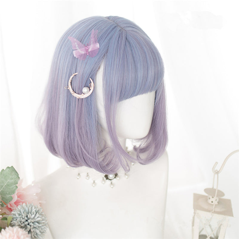 """BLUE PINK GRADIENT DOUBLE PONYTAIL"" WIG D052817"