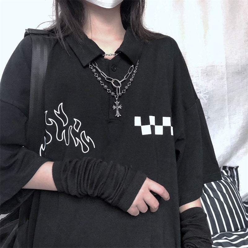 """DARK FLAME CHECKERS"" T-SHIRT D052204"