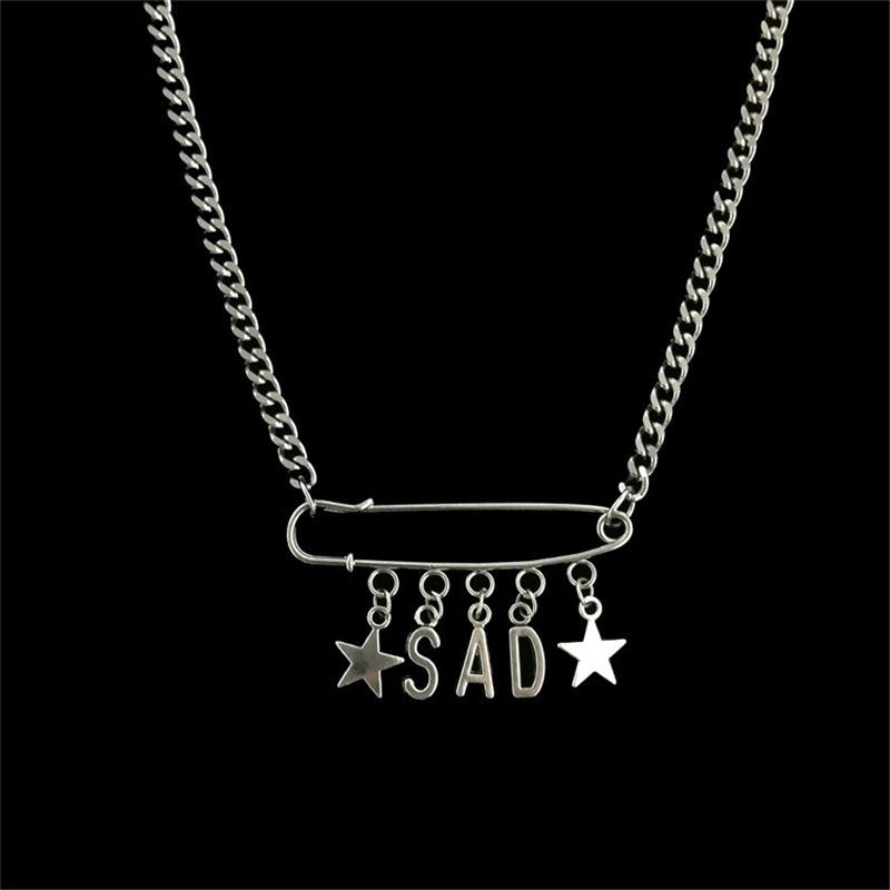"""SAD PIN STAR"" NECKLACE D052505"