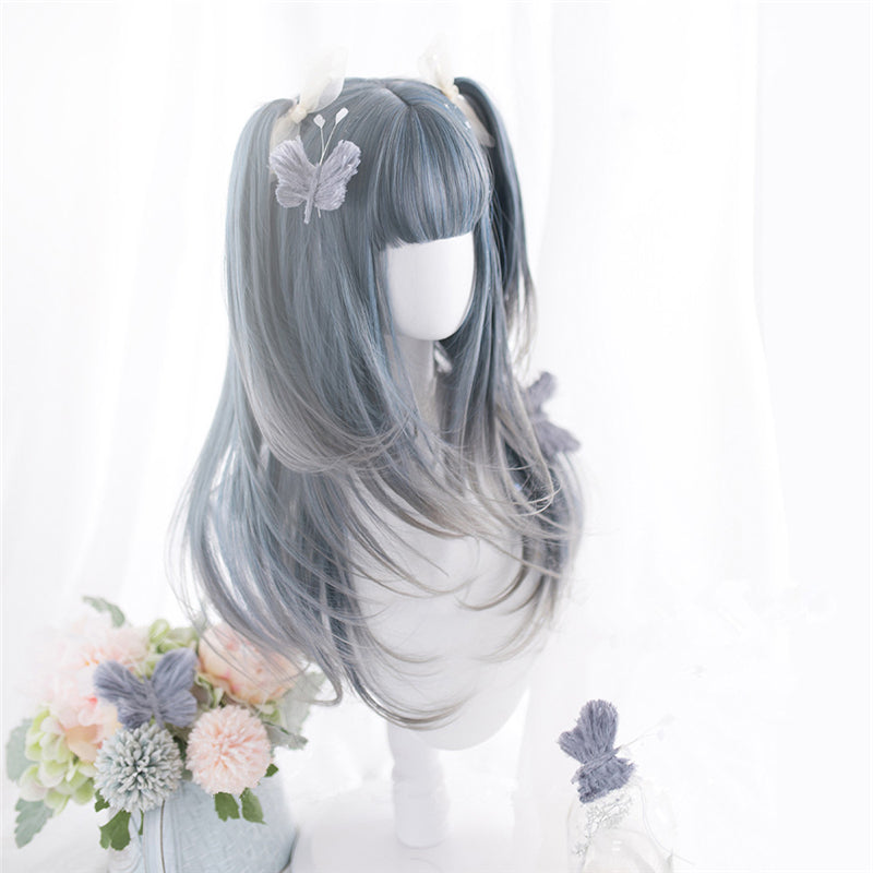 """BLUE GRAY GRADIENT LONG CURLY"" WIG D052111"