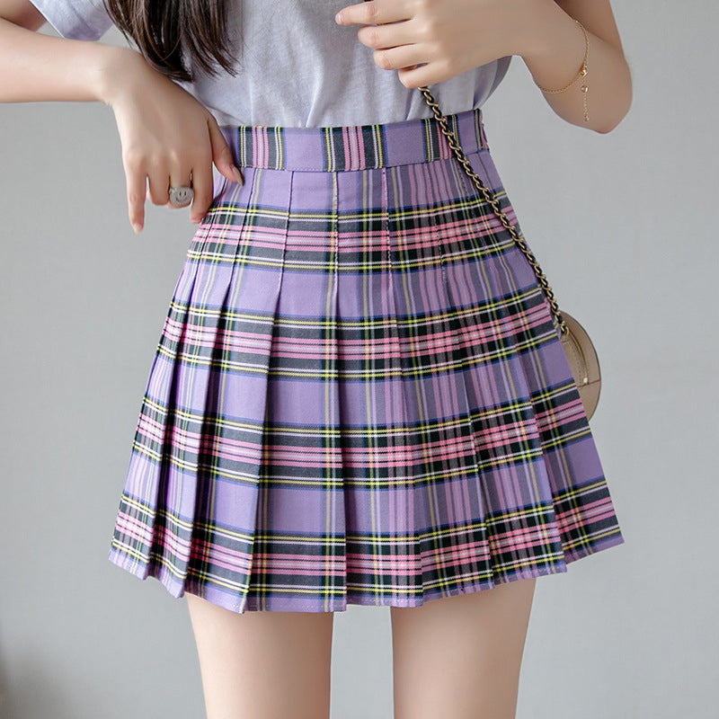 """JFASHION PLAID HIGH WAIST PLEATED"" SKIRT D052911"