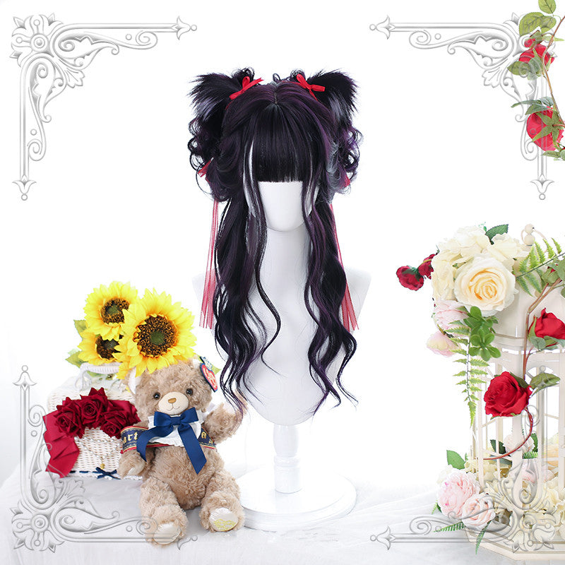 """BLACK DYED PURPLE BIG WAVE LONG CURLY"" WIG WITH EARS D061506"