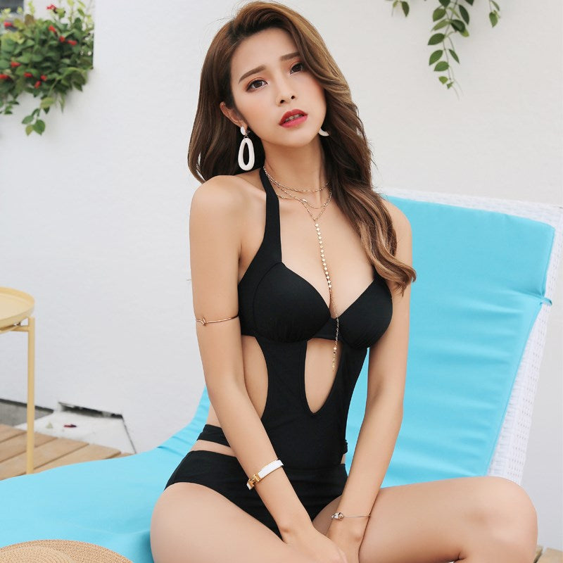 """BLACK SEXY CUTOUT CHEST GATHERED BIKINI"" SWIMSUIT D061907"