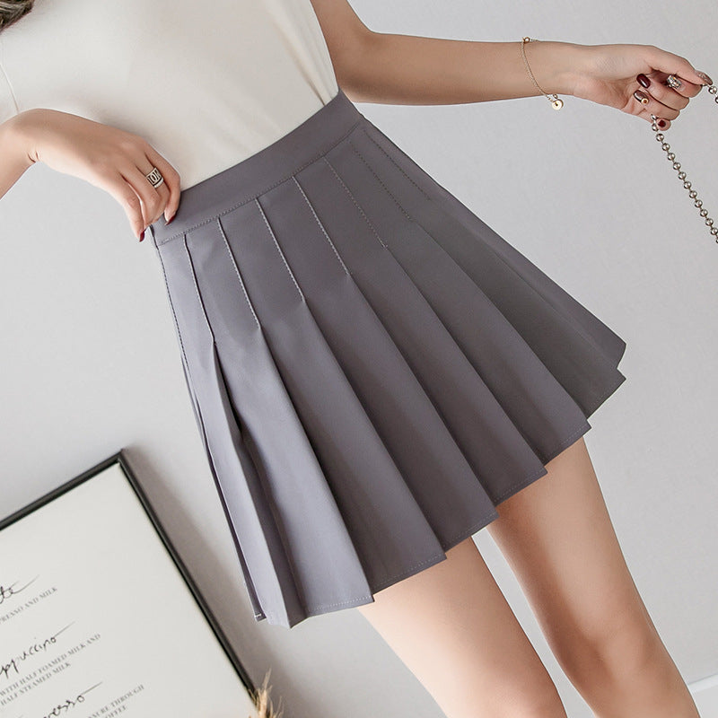 """SOLID COLOR HIGH WAIST PLEATED"" SKIRT D052910"