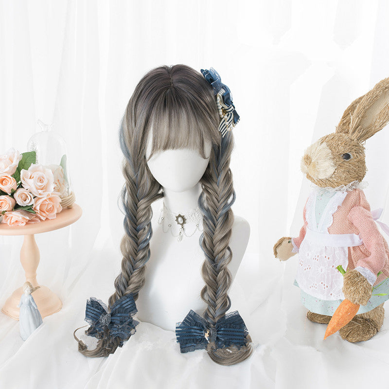 """GRAY-BLUE GRADIENT LONG CURLY"" WIG D051613"
