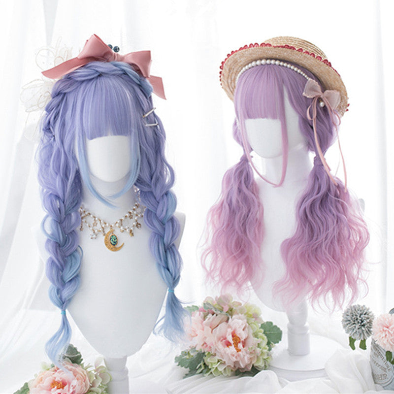 """BLUE PURPLE LOLITA LONG CURLY"" WIG D052815"