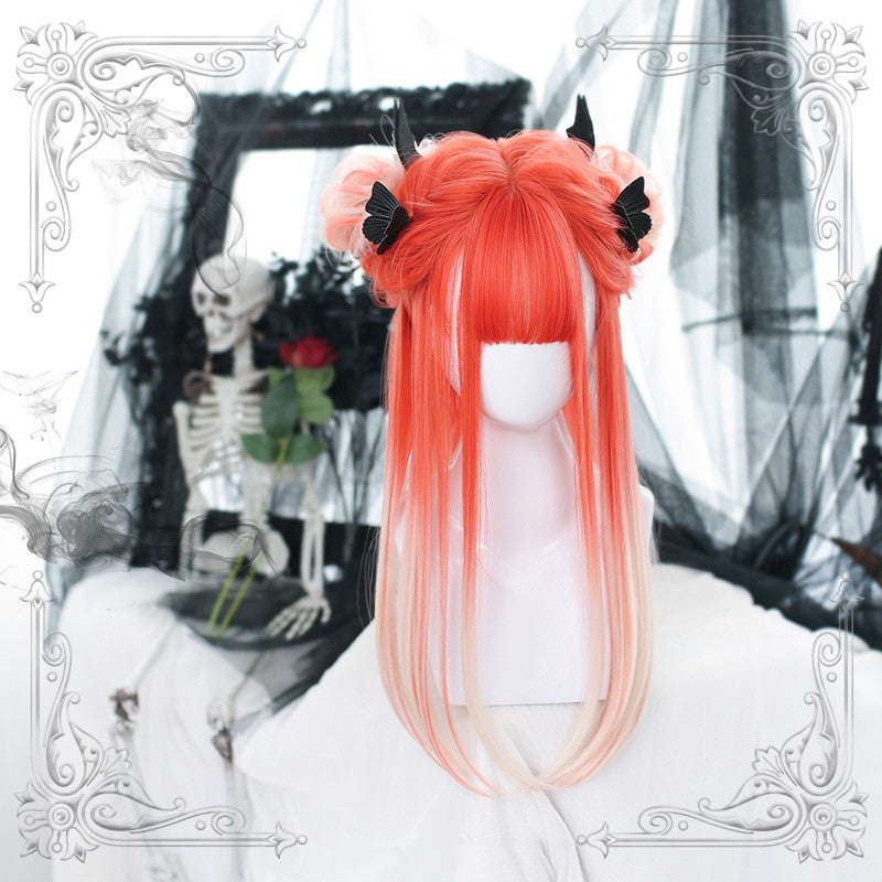 """ORANGE GRADIENT WHITE LONG STRAIGHT"" WIG D061504"