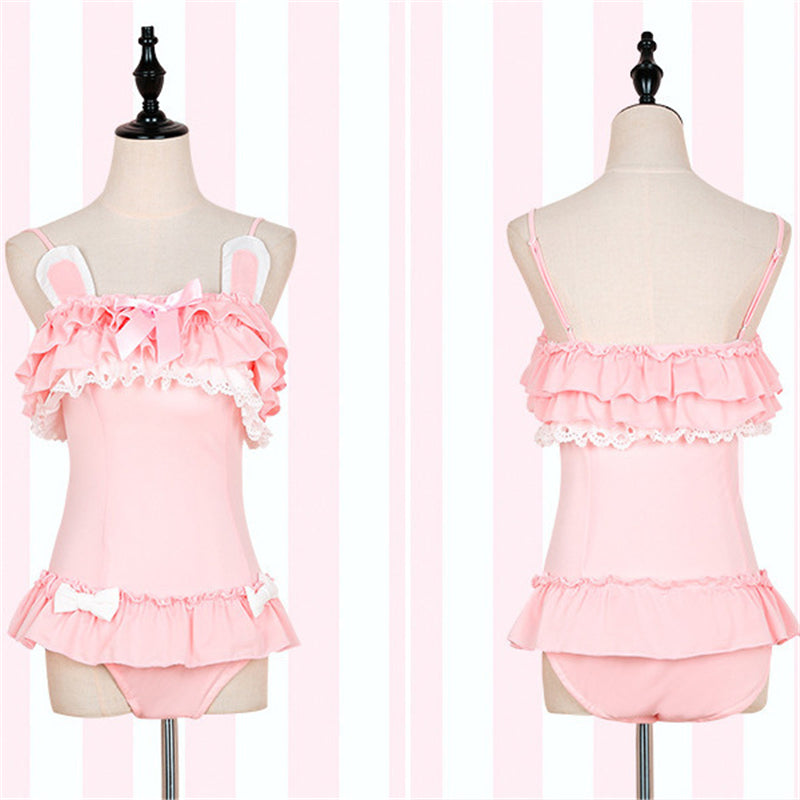 """PINK BLACK CUTE CAT EARS RABBIT EARS"" SWIMSUIT D061905"