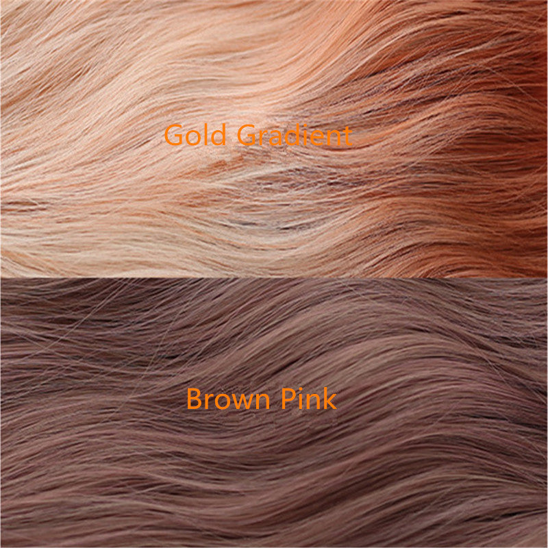 """BROWN/GOLD GRADIENT MICRO CURLY SHORT"" WIG D061505"