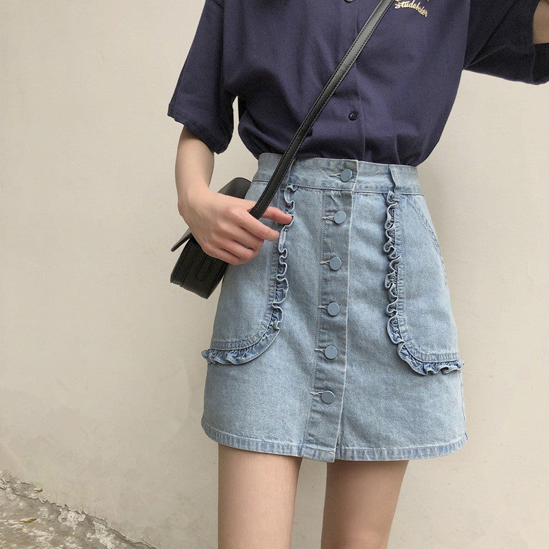 """CUTE LARGE POCKETS DENIM"" SKIRT D052902"