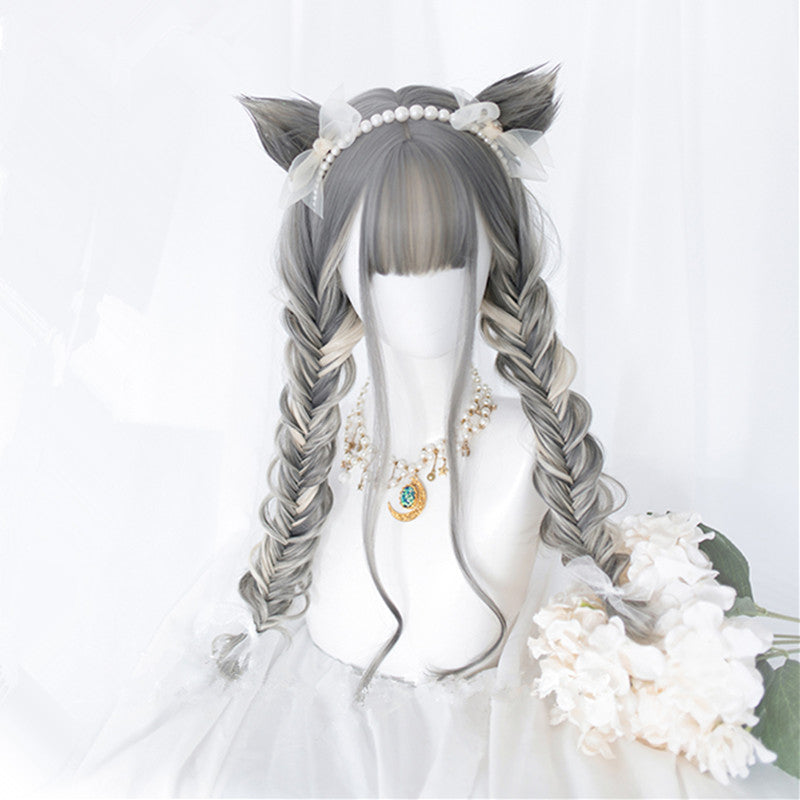 """CAT EAR GRAY GRADIENT CURLY"" WIG D051801"