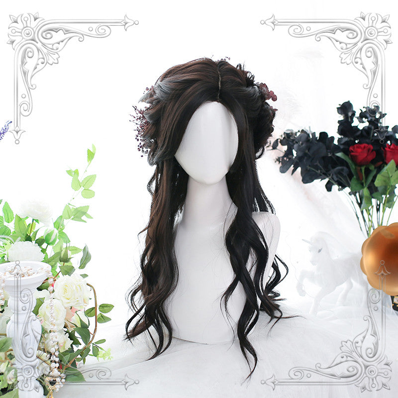 """DARK BROWN SLIGHTLY CURLY LONG"" WIG D061503"