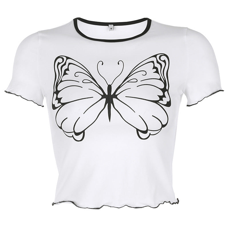"""BIG BUTTERFLY PRINT"" CROP TOP D052810"