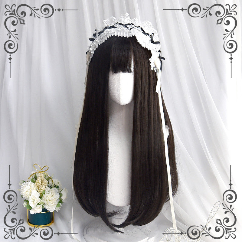 """BLACK BANGS LONG STRAIGHT"" WIG D061701"