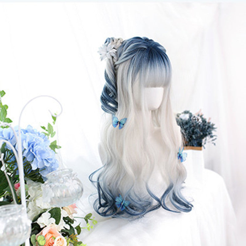 """BLUE WHITE GRADIENT LONG CURLY"" WIG D061501"