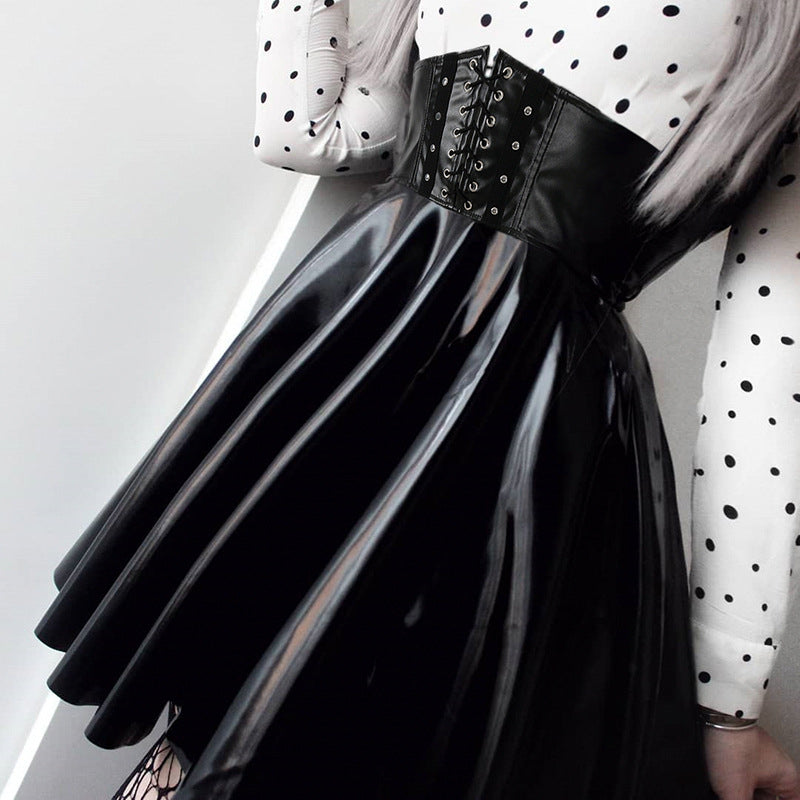 """BLACK LACE-UP FAUX LEATHER HIGH WAIST PLEATED"" SKIRT D052908"