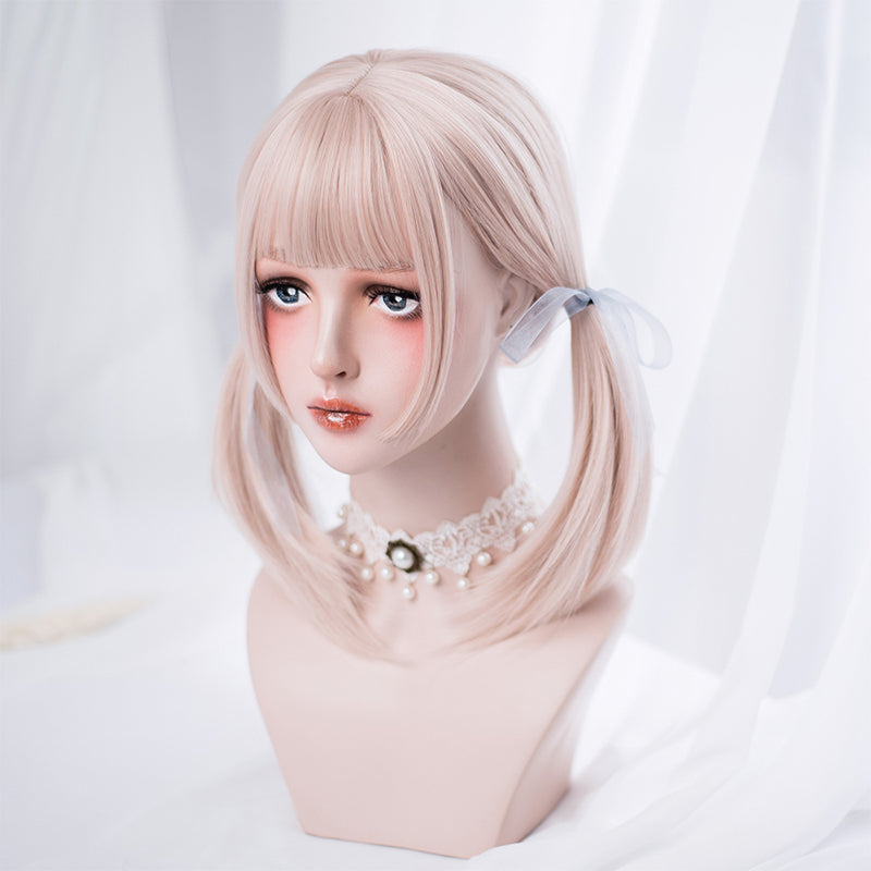 """BLACK/APRICOT PINK LONG STRAIGHT"" WIG D051806"
