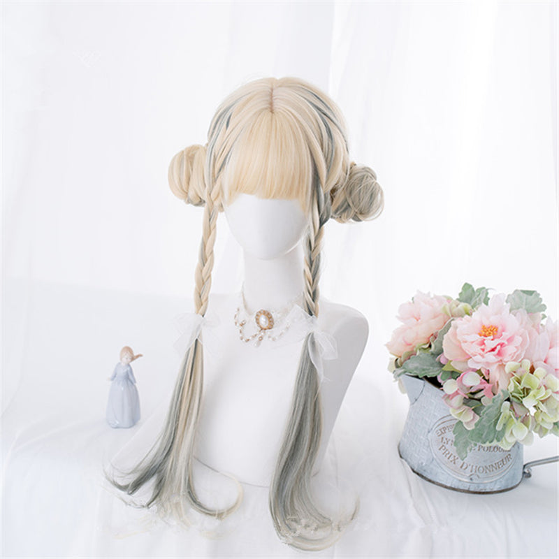 """GOLD DYED GRAY SLIGHTLY CURLY LONG"" WIG D052207"