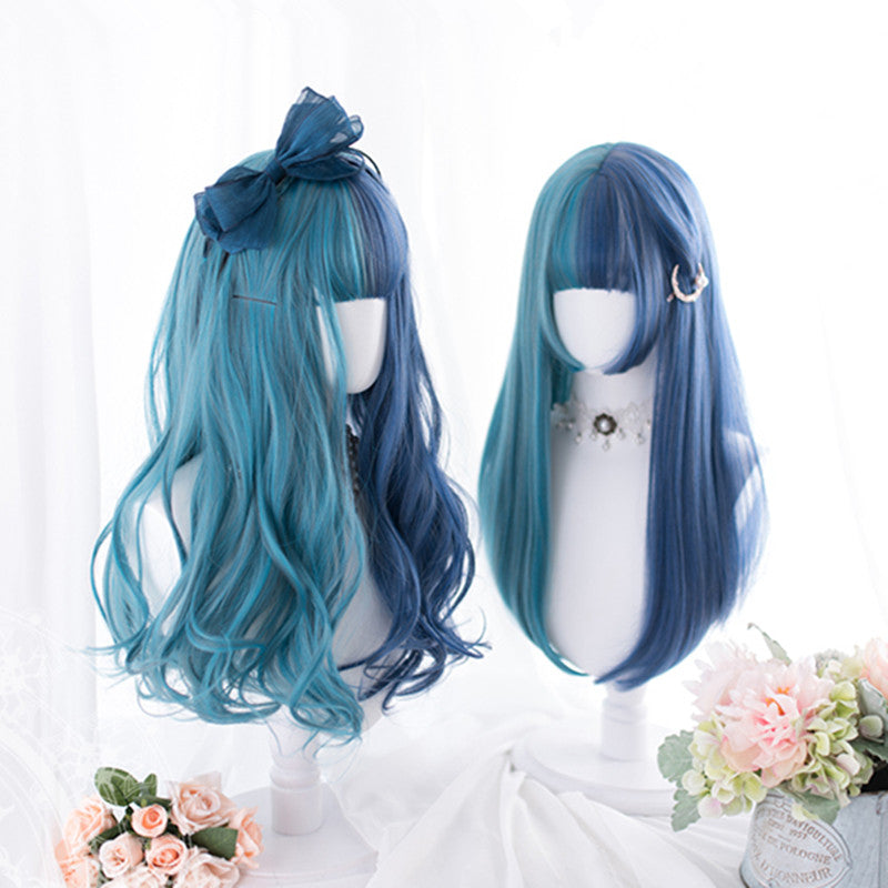 """BLUE GREEN COLORBLOCK LONG"" WIG D052816"