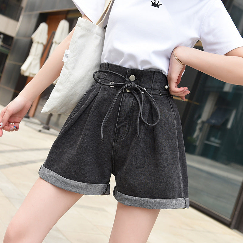"""DOUBLE BUTTON HIGH WAIST DENIM"" SHORTS D052313"