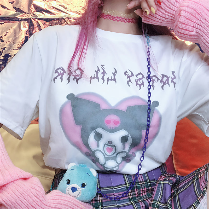 """CUTE HEART CARTOON PRINT"" T-SHIRT D052308"