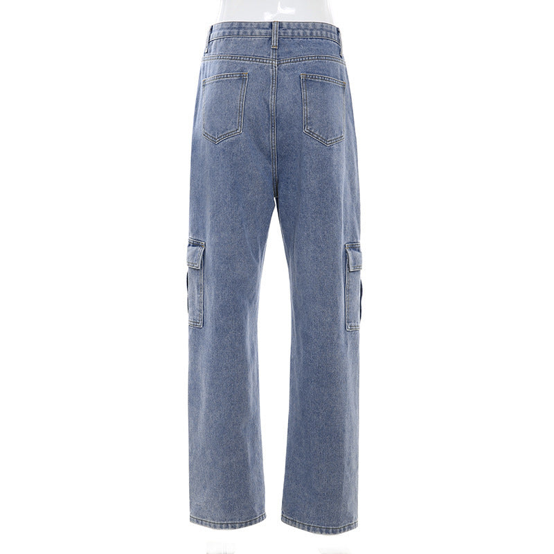 """HIGH WAIST BIG POCKET WIDE LEG"" JEANS D060511"