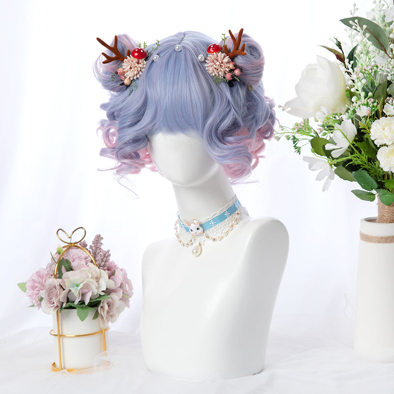 """BLUE PINK GRADIENT BANGS SHORT CURL"" WIG D051603"