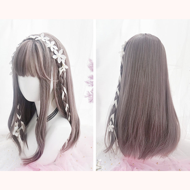 """ROSE GRAY BANGS LONG STRAIGHT"" WIG D051602"