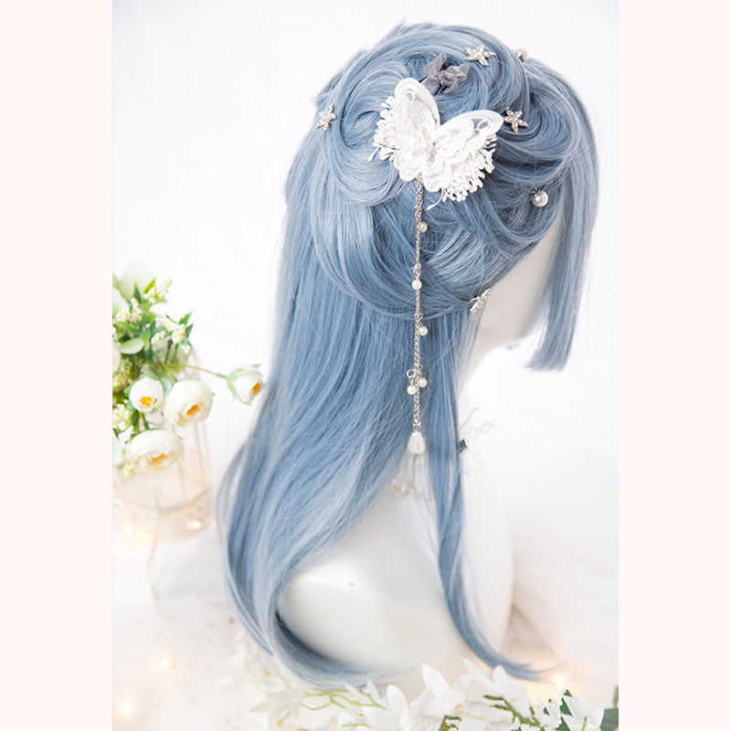 """LIGHT BLUE BANGS LONG STRAIGHT"" WIG D051610"