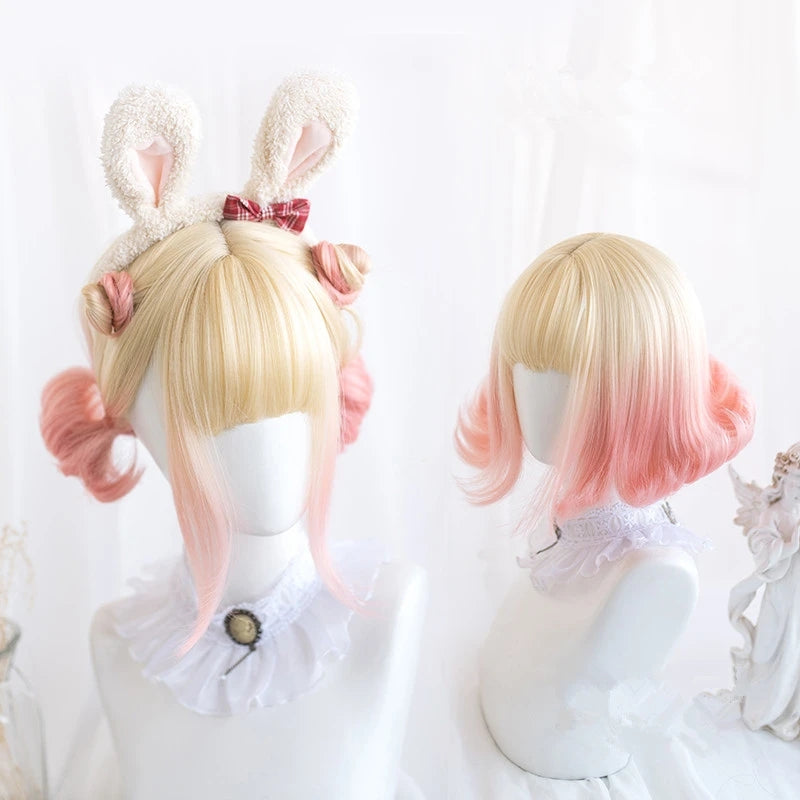 """MILK GOLDEN GRADIENT PINK SHORT CURLY"" WIG D041625"