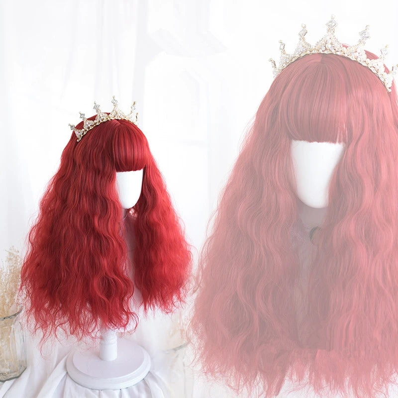 """RED WAVY CURLY"" LONG WIG D041627"