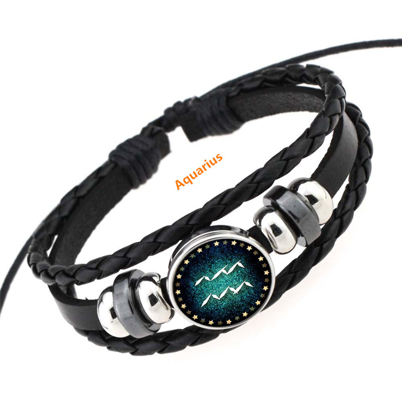 """12 CONSTELLATION LEATHER"" BRACELET D070803"
