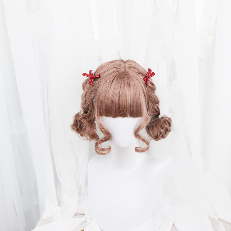 """LIGHT BROWN LOLITA CURLY SHORT"" WIG D041702"