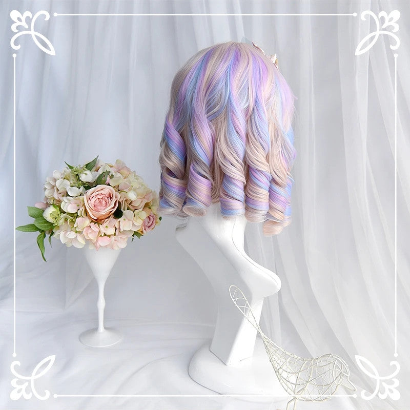 """PINK/PURPLE/BLUE MIXED DYED CURLY"" SHORT WIG D042012"