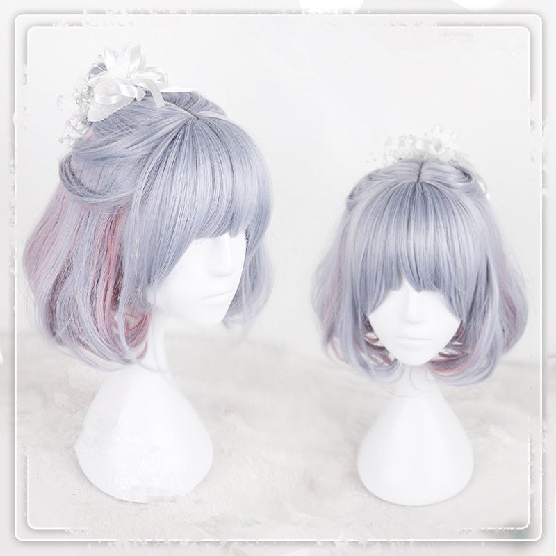 """BLUE DYED PINK SHORT"" WIG D071417"