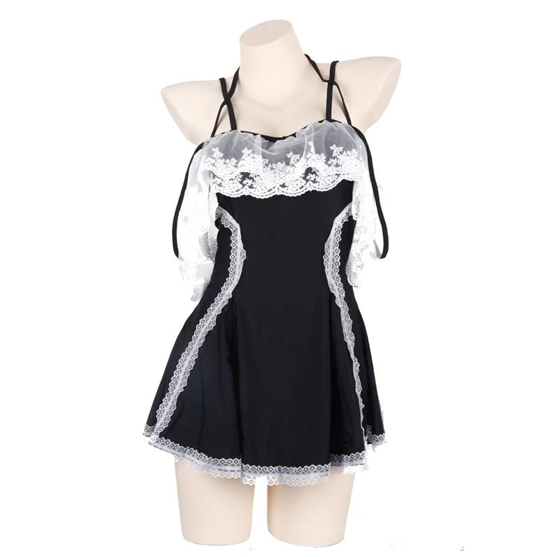 """LACE FLOWER CUTE SUSPENDERS"" SEXY SWIMSUIT DRESS D042047"