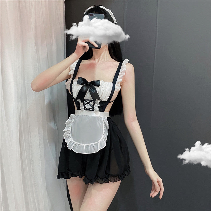 """CUTE SEXY BACKLESS APRON STRAP COS MAID"" SUIT D042018"