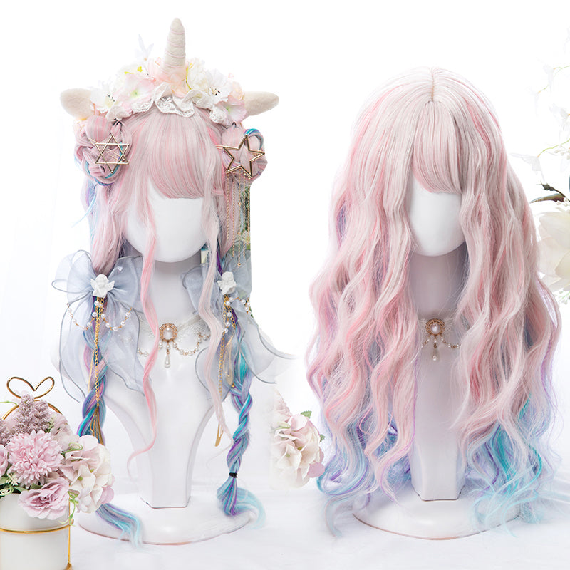 """PINK BLUE PURPLE MIXED GRADIENT LONG CURLY"" WIG D051514"
