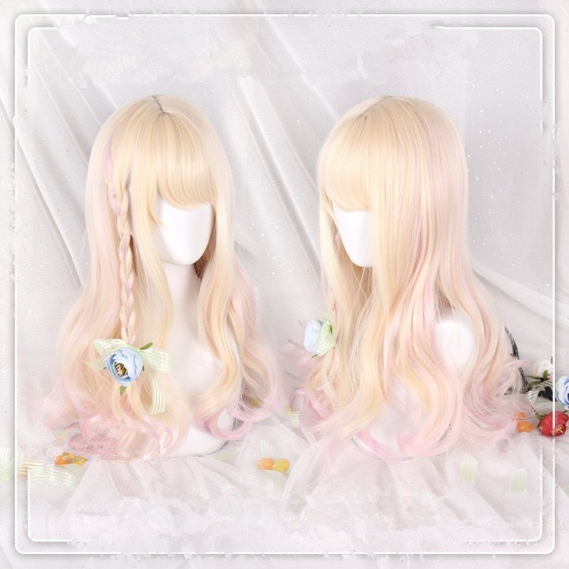 """GOLDEN DYED PINK LOLITA LONG CURLY"" WIG D071418"