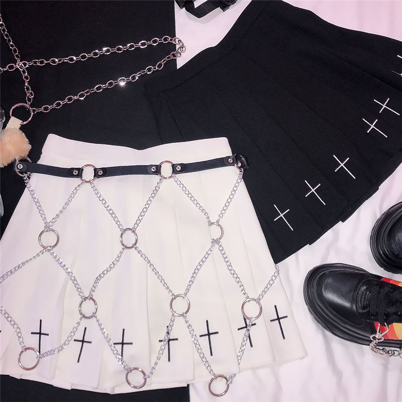"""METAL PUNK CROSS"" CHAIN BELT D070403"