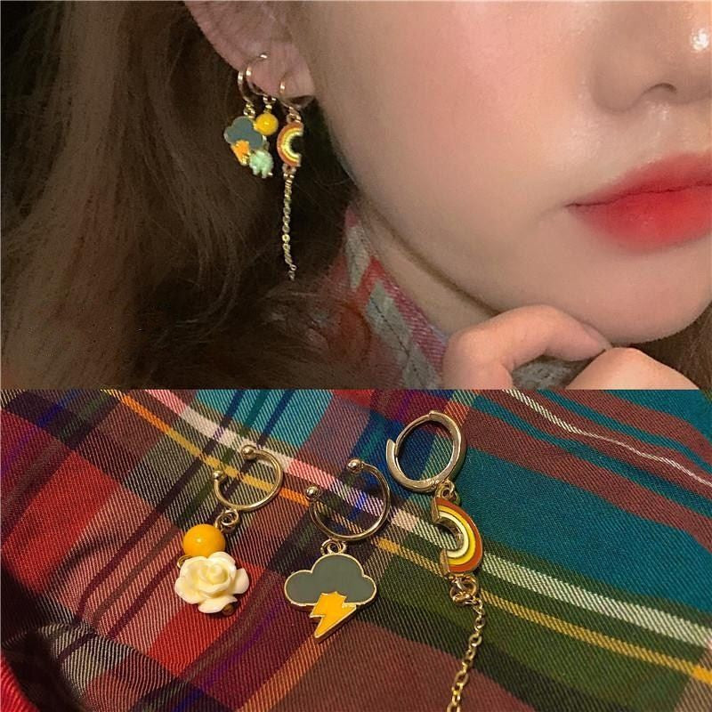 """RAINBOW/FLOWER/LIGHTNING"" CUTE EARRING D070602"